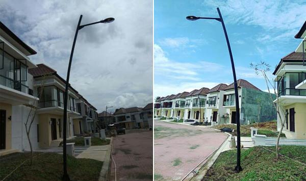 Indonesia LED street light Project for residential area