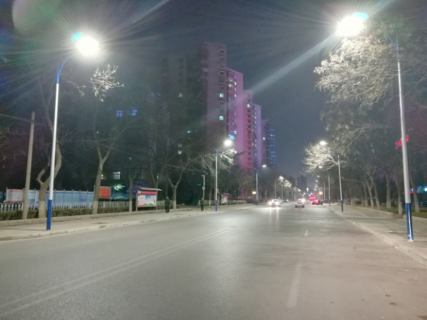 LED street light illuminates the dark night